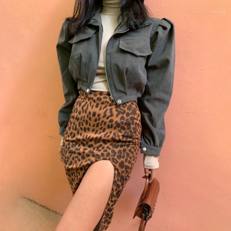 Юбки 2021 Летняя Высокая Талия Подол Сплит Юбку Пакет Хип Элегантный Леопардовый Коленый Тонкая Подходит Женщины Повседневная Модная Улица1