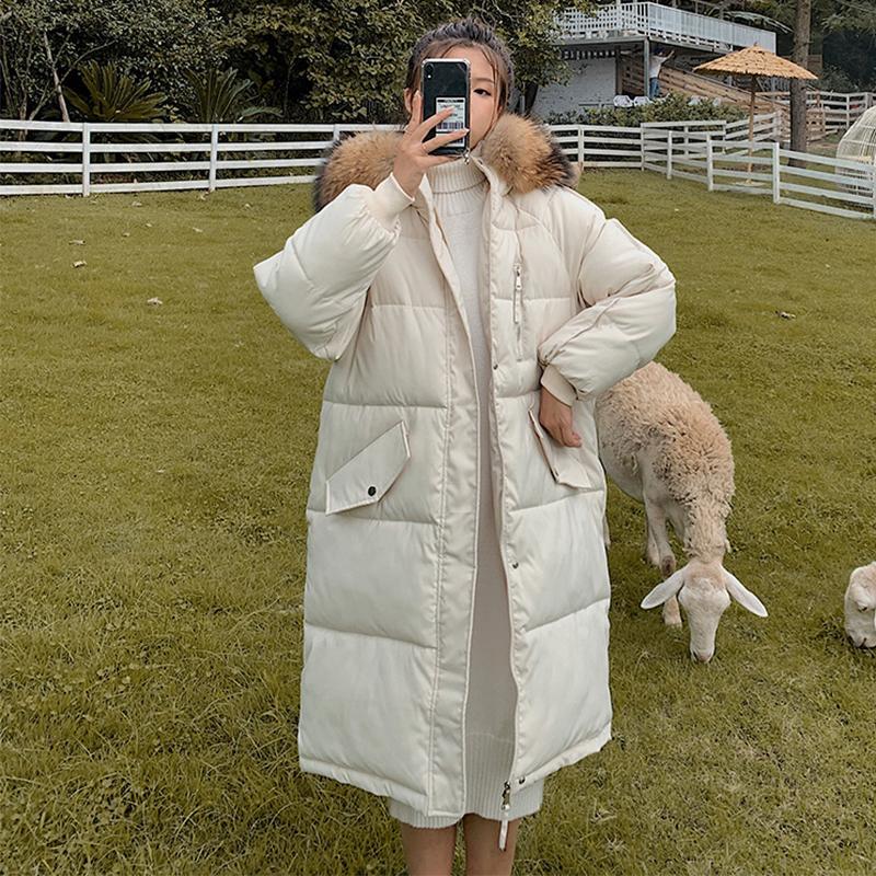 novos inverno longo parkas jaquetas mulheres inverno Casual Engrosse parkas quente colarinho casaco de inverno feminino pele preenchimento casacos S-2XL 201119
