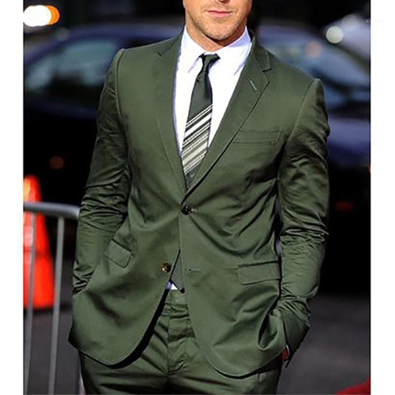 TPSAade 2020 Nova Chegada Slim Fit Mariage Homens Suits Escuros Olive Green Noivo TuxeDos Mais Recente casaco Calças Designs Homens Suit1