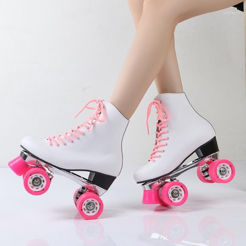 Clásico blanco y rosa rosado patinador de patines de cuatro ruedas 4 ruedas de cuero real placa de aluminio cepillo la calle y monta dureza85A1