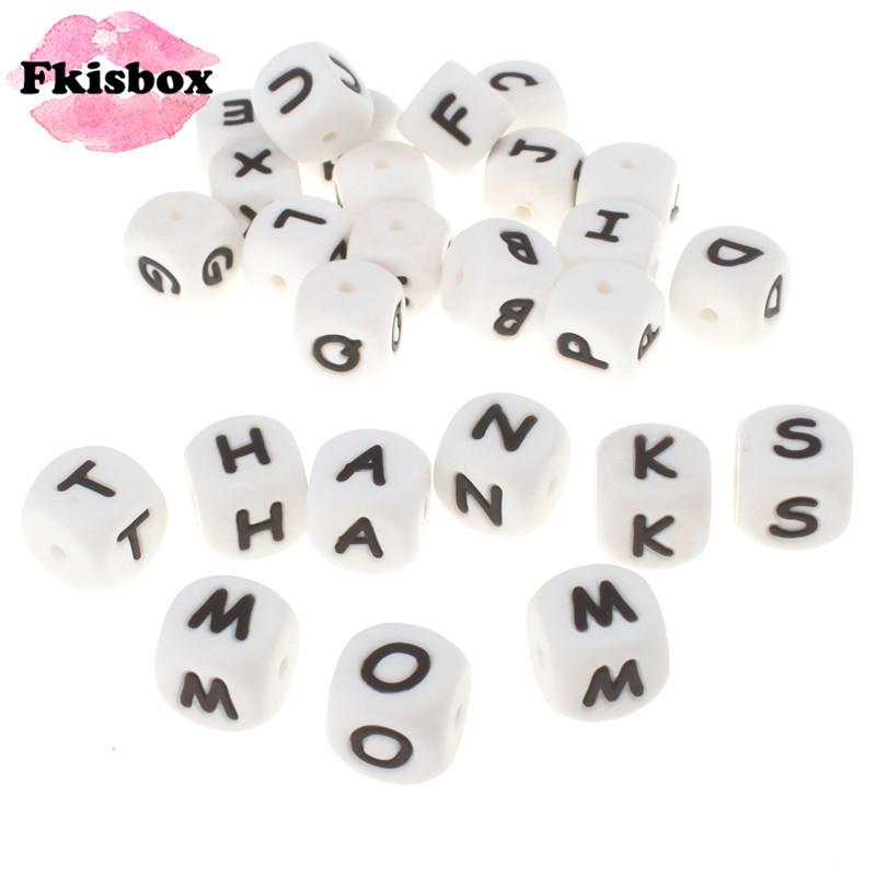 100pcs English Alphabet Letter 12mm Silicone Cube Teether Beads Bpa Free Food Grade Baby Teething Jewelry Teaching Nursing Toy 201124