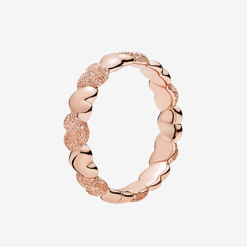 Женский матовый блеск блеска сердца кольцо розовые позолоченные свадебные украшения для 925 серебряные кольца любви с коробкой