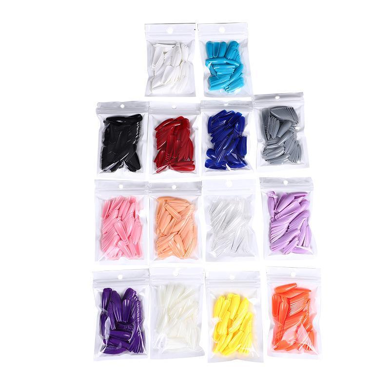 1 пакет из 100 кусочков поддельных ногтей Трапециевидная длинная полная Full Fit Ballet сплошной цвет маникюр Artifical Nails False Nails Nail Art