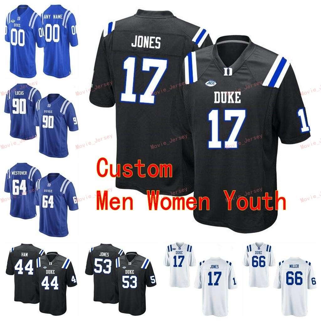 Сшитые пользовательские 3 Thmison Cower 3 T.J. Рахминг 34 Бен Хамфрис 4 Милес Худзик Гулка Голубые дьяволы Мужчины Женщины молодежь Джерси