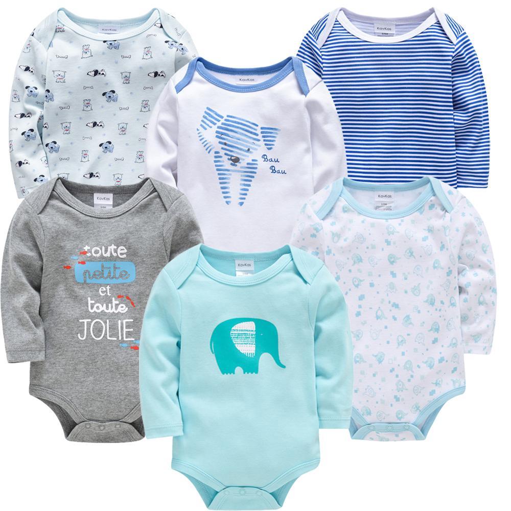 Kavkas Neue Baby Jungen Bodysuit 6 Stück 3 Stück Langarm Baumwolle Baby Jungen Mädchen Kleidung 0-3 Monate Neugeborenen Körper Bebe Kleidung 201105