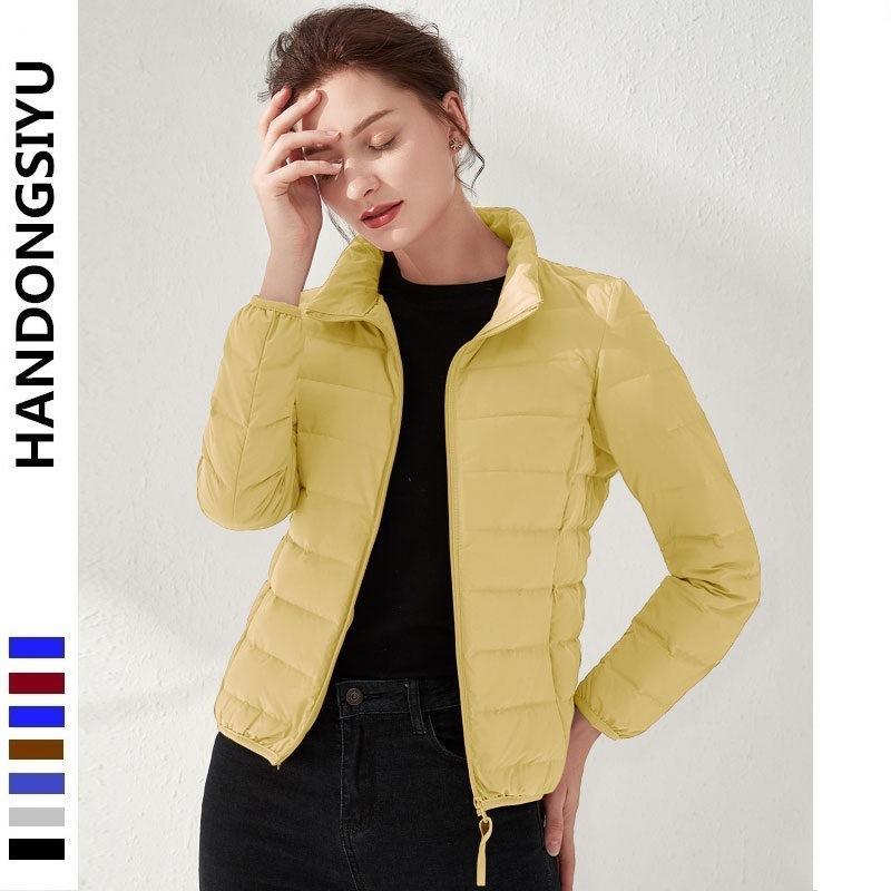 Inverno frio siyu 2020 90 colarinho vertical feminino sem emenda pressionado para baixo casaco grande curto