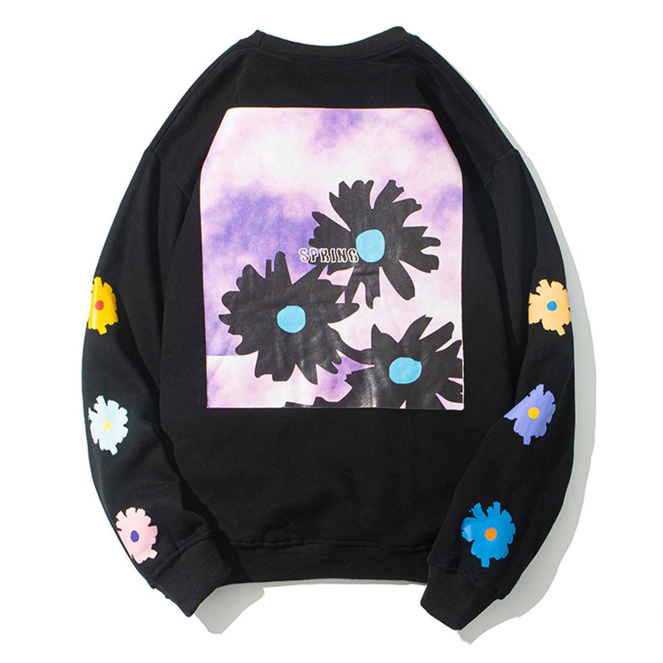 2021 новый хип-хоп уличная одежда ромашка цветы печать хараджуку толстовки зимние пуловерные топы мужчины хлопок флис черный NGCP