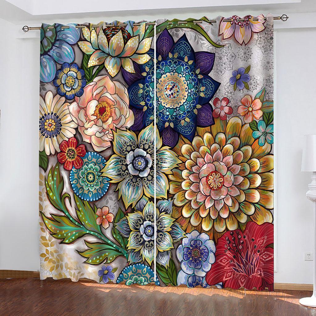 Blackout ventana cortina de lujo 3d cortinas para sala de estar dormitorio colorido flores de moda cortinas de moda decoración del hogar