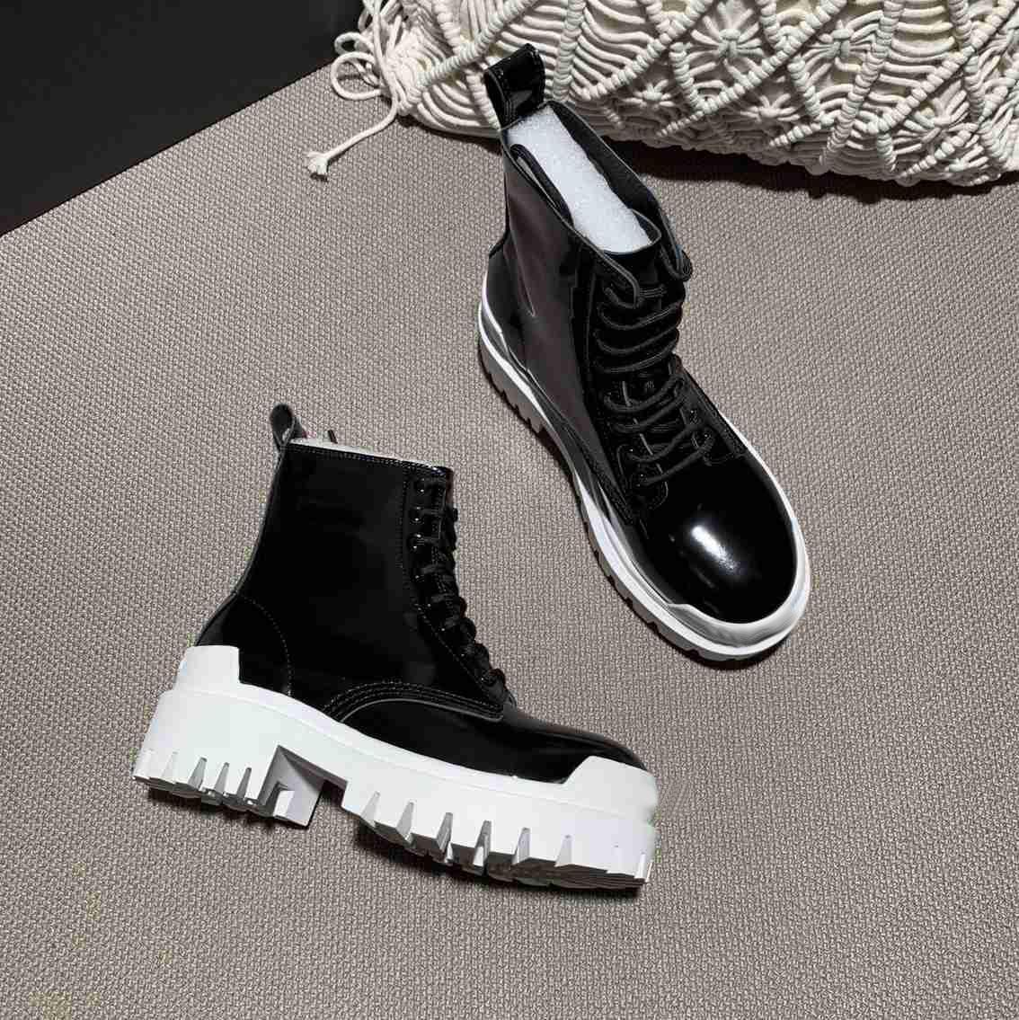 Marka Bayan Knight Ayak Bileği Moda Tıknaz Topuk Kar Kış Çizmeler Martin İnek Deri Frenulum Patik Boyutu35-42