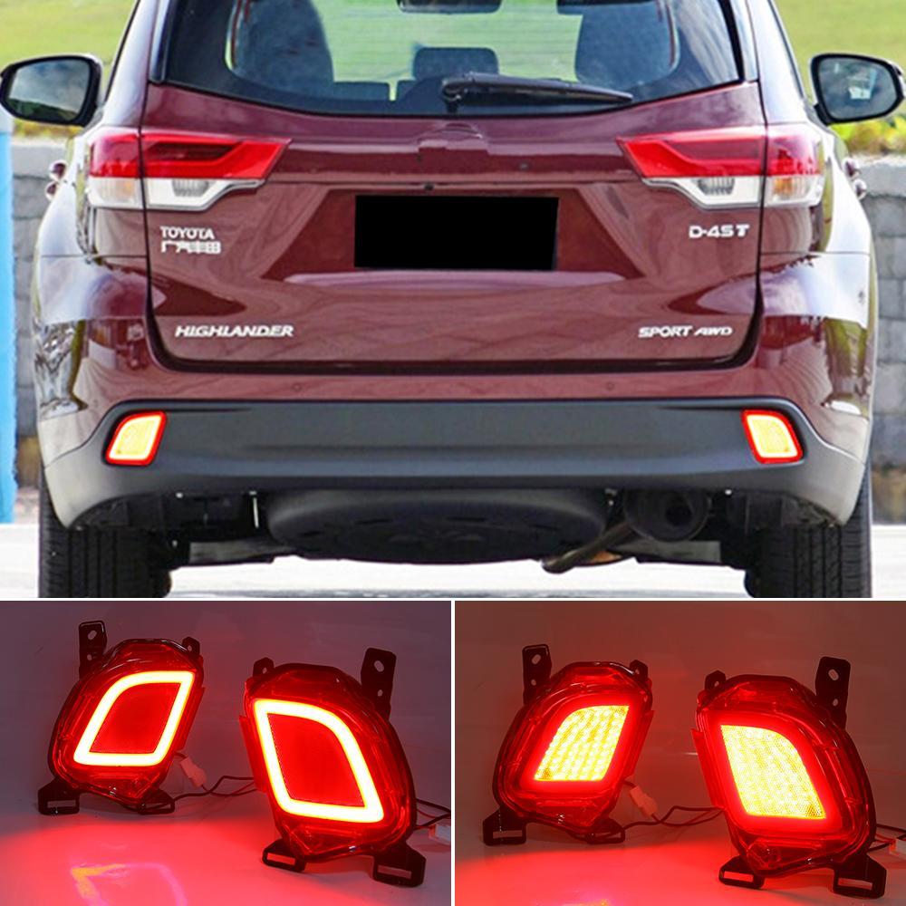 2 STÜCKE Reflektor für Toyota Highlander 2015 2016 2017 2018 2019 LED Hinterer Bumper Licht Nebelscheinwerfer Bremslicht Blinker Signal
