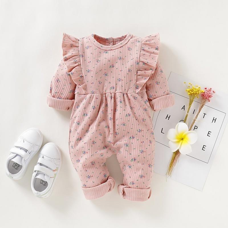 Newborn Girl Romber с длинным рукавом осень зима цветочный ребенок ползунка для девочки милый розовый рюшами младенческой девушки кудрявый комбинезон 201127