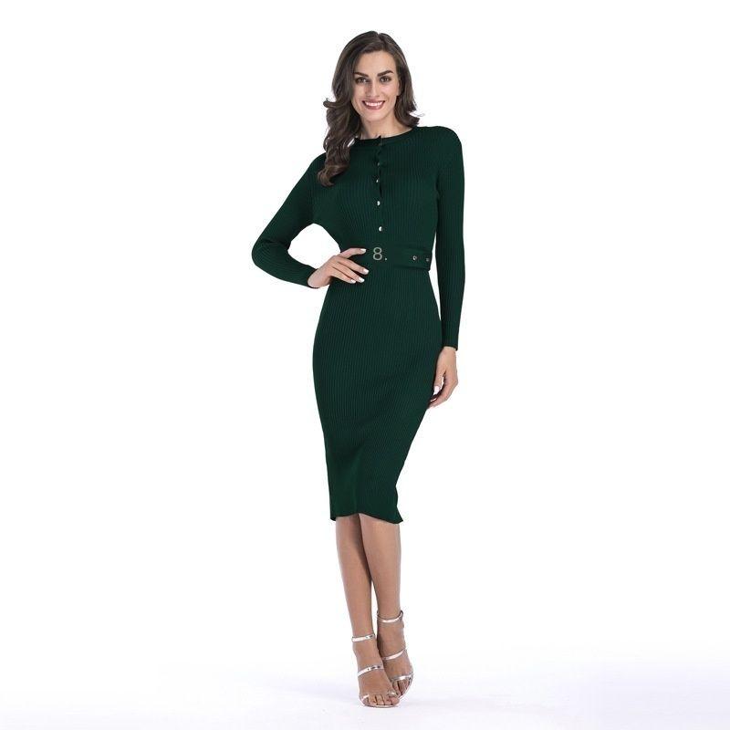 Кнопка на груди женщины сплошной цвет Slim Fit Beet Bag Hip Skirt Zle13l7c