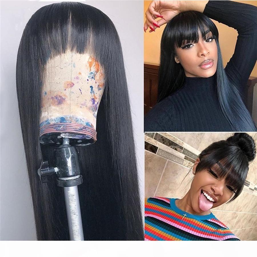 13x6 Dantel Ön İnsan Saç Peruk Ile Bebek Saç Ipek Düz Patlama ile Tutkalsız Brezilyalı Saçak Peruk 360 Dantel Frontal Doğal Saç Çizgisi