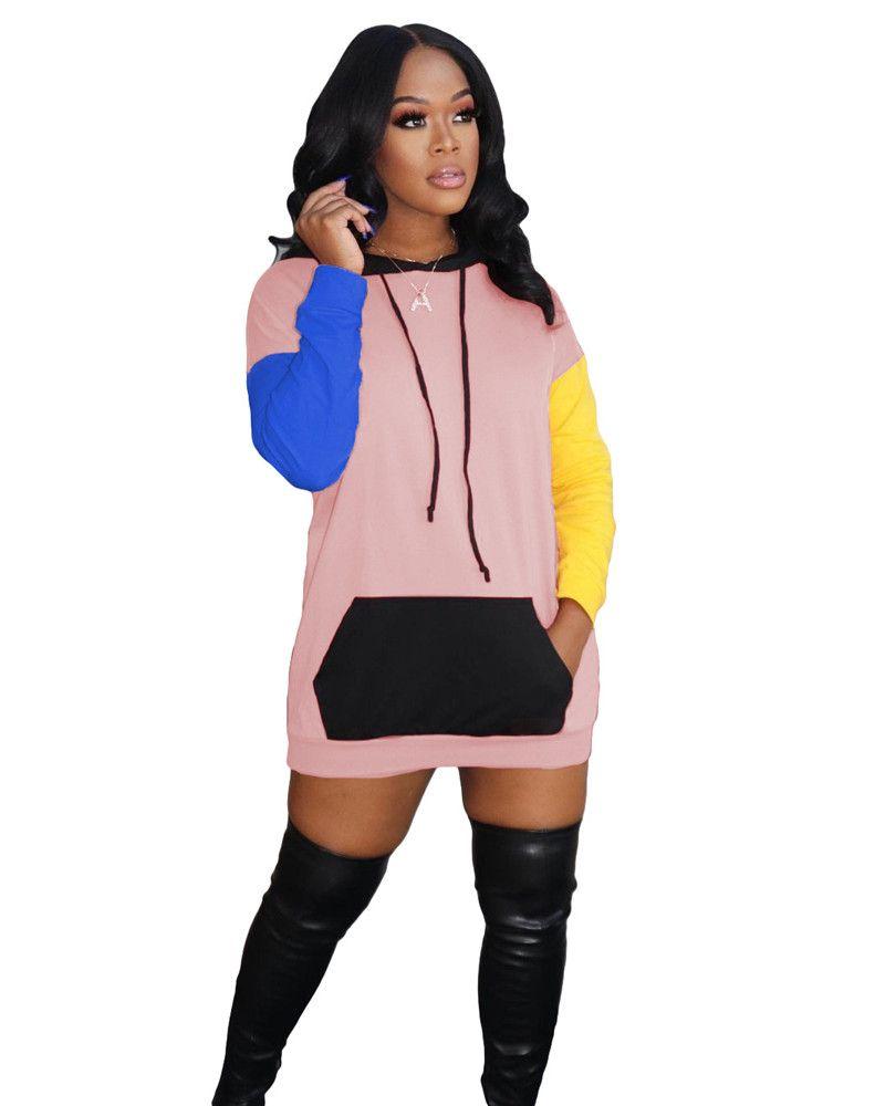 Panelli Bayan Artı Boyutu Elbiseler Moda Kapüşonlu Kontrast Renk Bayan Rahat Uzun Kollu Tasarımcı Bayan Giyim