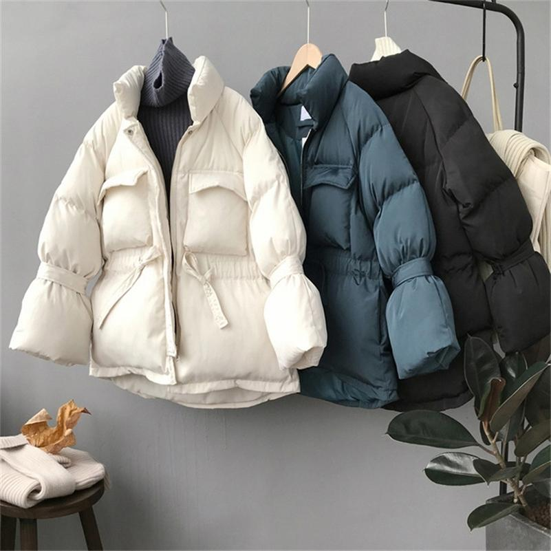 sweet solid autumn winter down jacket women stand collar warm thick drawstring slim long sleeve chic coat parka female 201211