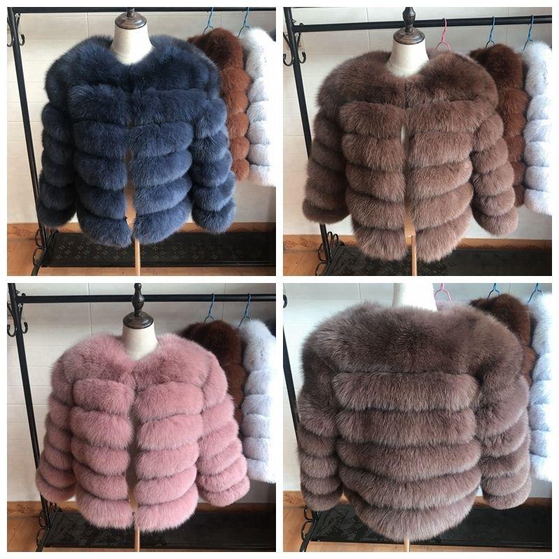 50 cm Nuevas mujeres Cálido Real Fox Four Abrigo Corto Chaqueta de piel de invierno Ropa exterior Abrigos de piel de zorro azul natural para mujeres Promoción caliente 201016