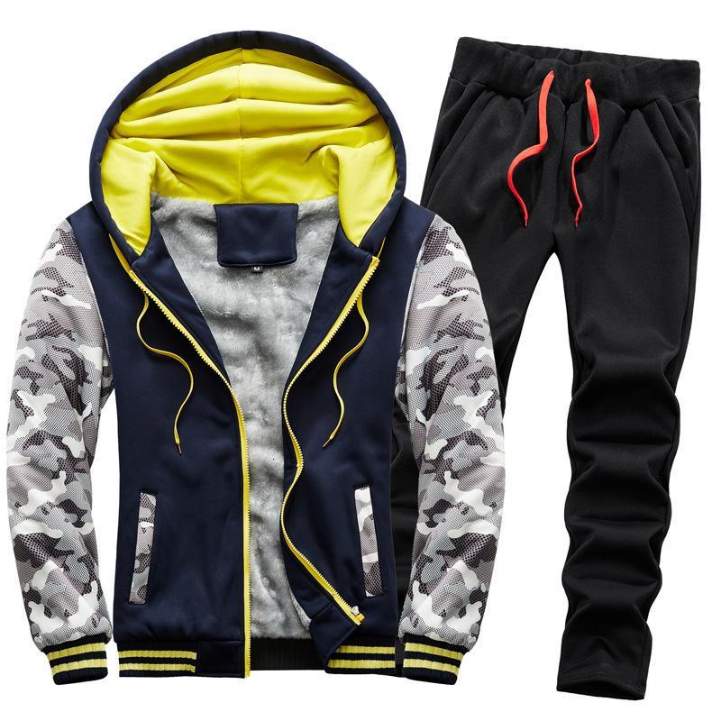 2020 novo inverno homens de pelúcia pesada suéter quente terno camuflagem sportswear