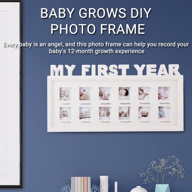 Frames de fotos de combinación de bricolaje 0-12 meses Bebé Mis fotos de primer año Mostrar marco de fotos de plástico Niños Cultivo de la memoria Regalo de memoria SEP99