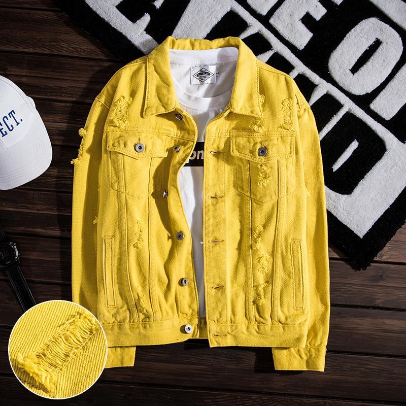 Осенняя дыра Стройная новая мода повседневная джинсовая мужская свободная хлопчатобумажная молодежная джинсовая куртка размером S-3XL