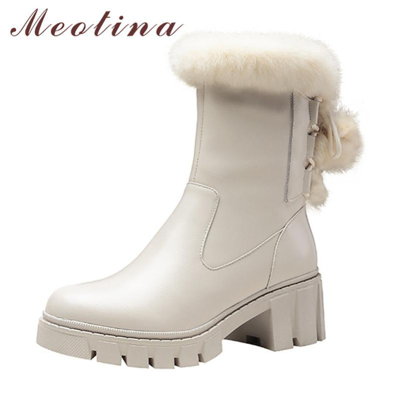 Botas Meotina Mid Becerro Mujeres Real Cuero Plataforma High Heel Shoes Zipper Tacones Chunky Tacones Cálido Piel Nieve Beige Beige