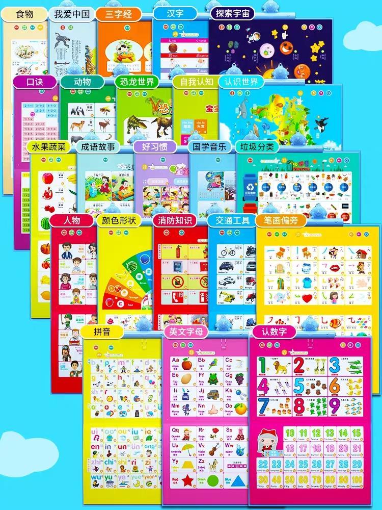 2020 Çocuk Ses Duvar Resim Bebek Pinyin Aydınlanma Alfabe Duvar Sopa Noktası Okuma Ses Kitabı Erken Eğitim Eğitici Oyuncaklar
