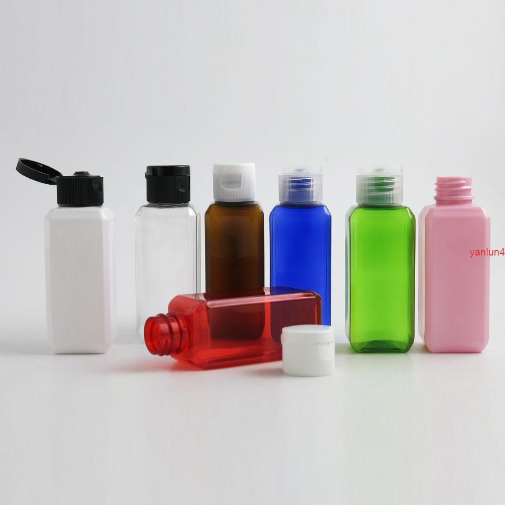 50 × 60 ملليلتر زجاجة عطر البلاستيك المحمولة 60cc ساحة الكتف الأسود الأبيض واضح فليب أعلى كاب لطيف التجميل حاوية مجانية