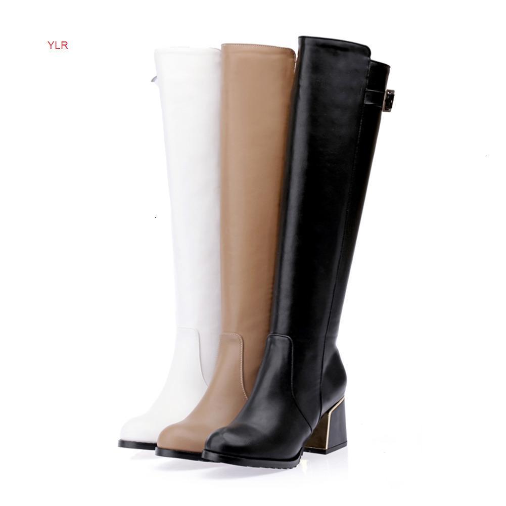 Venda Quente-Nova Chegada Moda Fivela Cinta Deocração Deocração Redonda Toe Quadrado Botas Altas Botas Para Sapatos Mulher 30-49