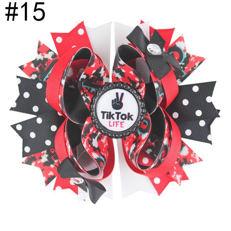 Livraison gratuite 30pcs 5.5'tiktok Inspiré des cheveux Bows Boutique Accessoires de cheveux avec Clip Mode Tok Tok Tok Tok Coupes à cheveux Cheveux Capuchon Cap Cap Bo