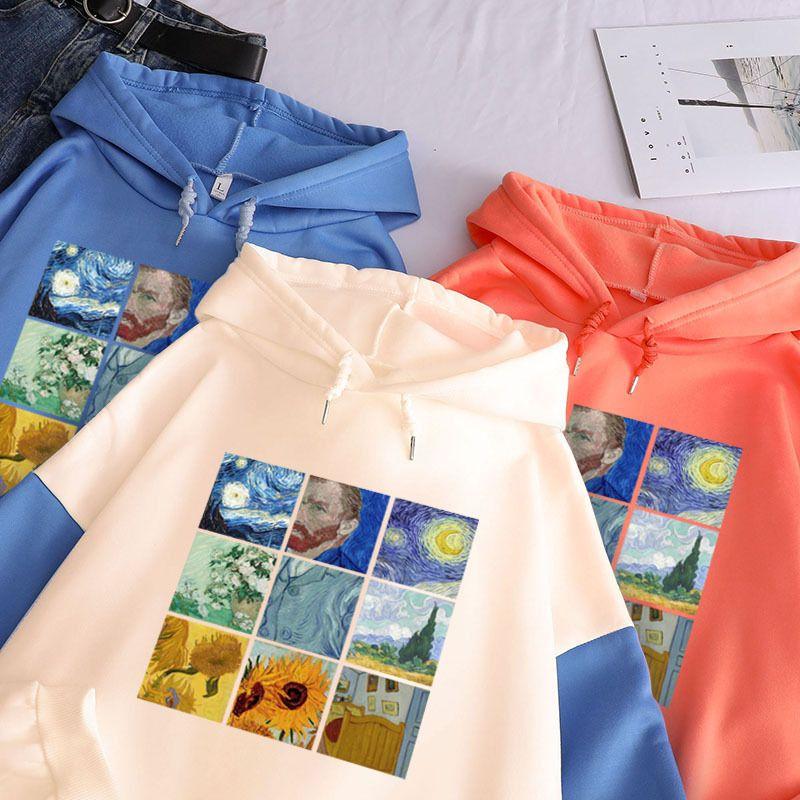 Women Hoodies Van Gogh Oil Painting Oversized Pullover Thick Loose Fleece Sweatshirt Harajuku Contrast Color Hooded Top Female Q0104