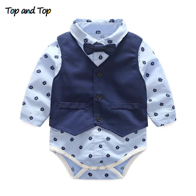 Top e Top Autunno Abbigliamento per neonato Abbigliamento bambino Abbigliamento Baby Boys Vestiti Gentleman Bowle Tie Pagliaccetti + Vest + Pantaloni Set bambino 201102