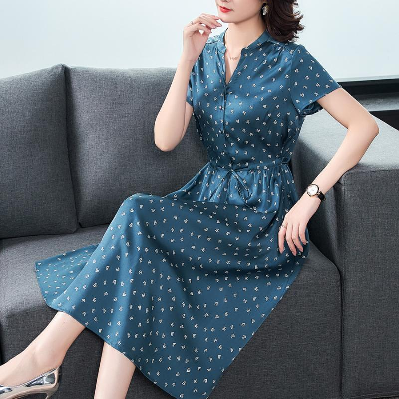 2021 Summer Blue Silk High Quality Midi Dresses Fashion Vintage 5XL Plus Size Print Runway Dress Elegant Women Bodycon Vestidos
