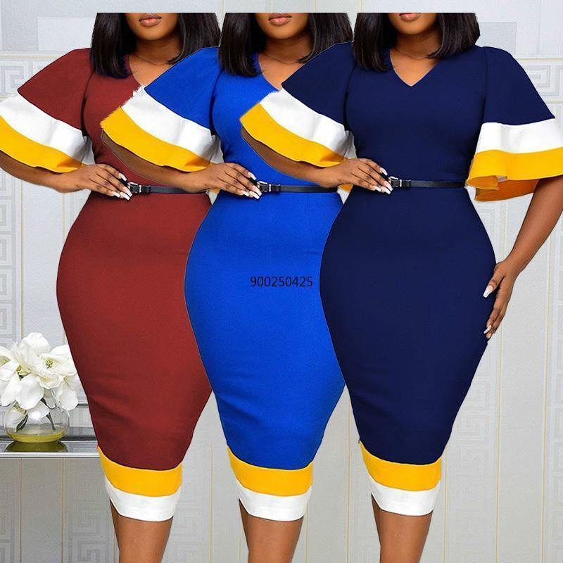 حزب فساتين النساء bodycon اللباس المرقعة اللون مضيئة قصيرة الأكمام الخامس الرقبة مكتب أنيق السيدات العمل ارتداء أنثى متواضع أنيق الأفريقي لوس أنجلوس