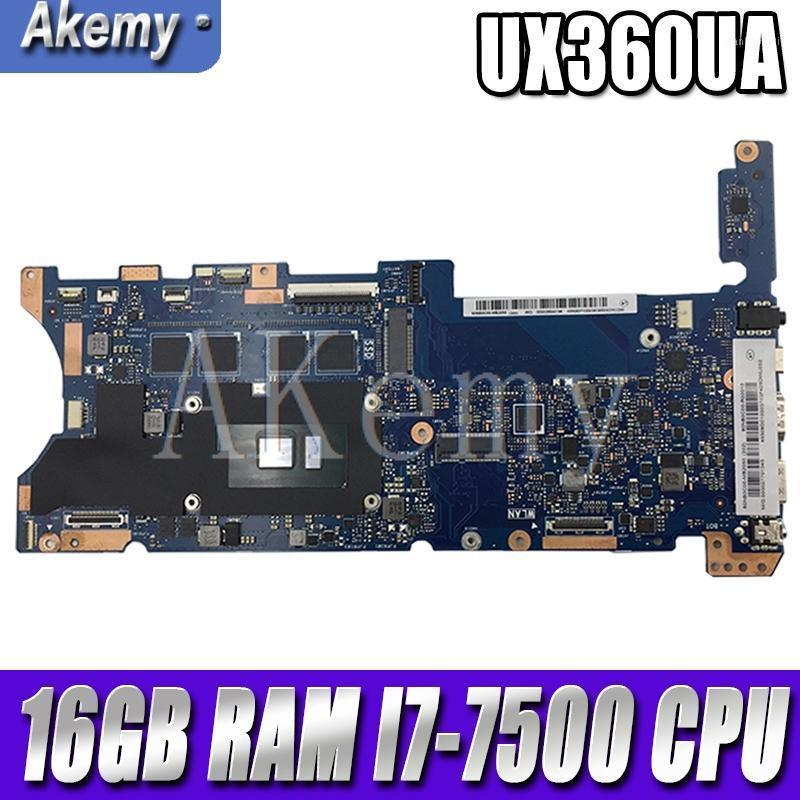 Akemy Top configuration Laptop Motherboard For Asus Q324UAK Q324UA Q324U UX360UA Mainboard 60NB0C00-MB8000 16GB RAM -7500 CPU1