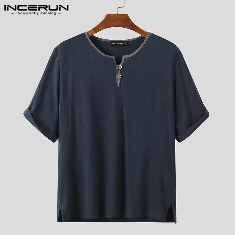 Ancerun Vintage Men T рубашка хлопок с коротким рукавом летние дышащие повседневные лоскутные кладки 2020 круглые шеи TEE Tops Streetwear CamiSetas