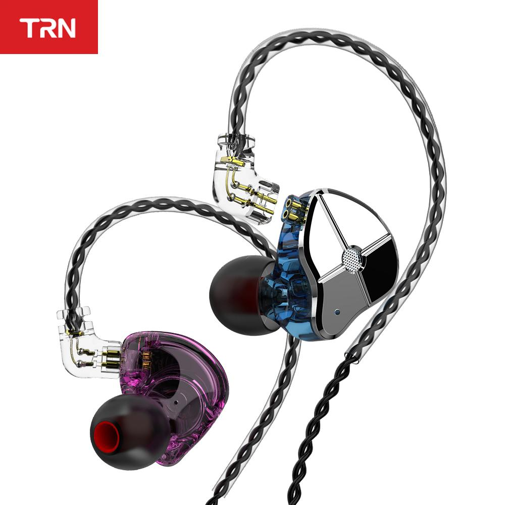 wholesale ST1 1DD 1BA Hybrid In Ear Earphone HIFI DJ Monitor Running Sport Earphone Earplug Headset With QDC Cable TRN V90 BA5