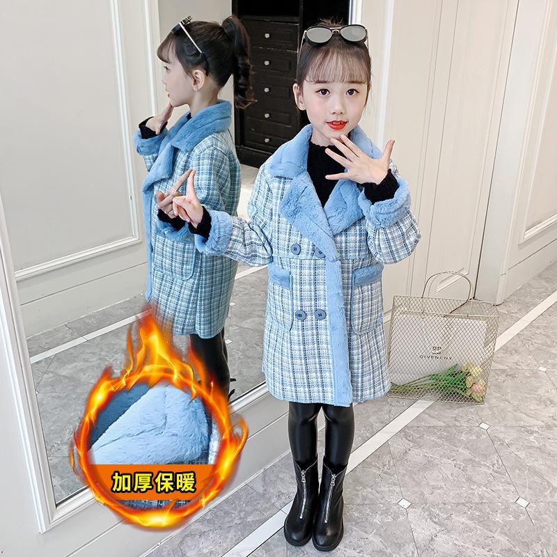 Ragazza di lana caduta / inverno 2020 nuova peluche cappotto di lana stile di lunghezza media