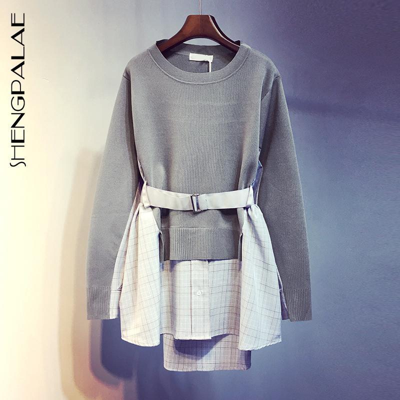 SHENGPALAE 2020 Automne Jumper à manches longues Tricoté Pull de mode en vrac Femme Hit Color Splice Fake Sweater en deux pièces ZA5300 LJ201126