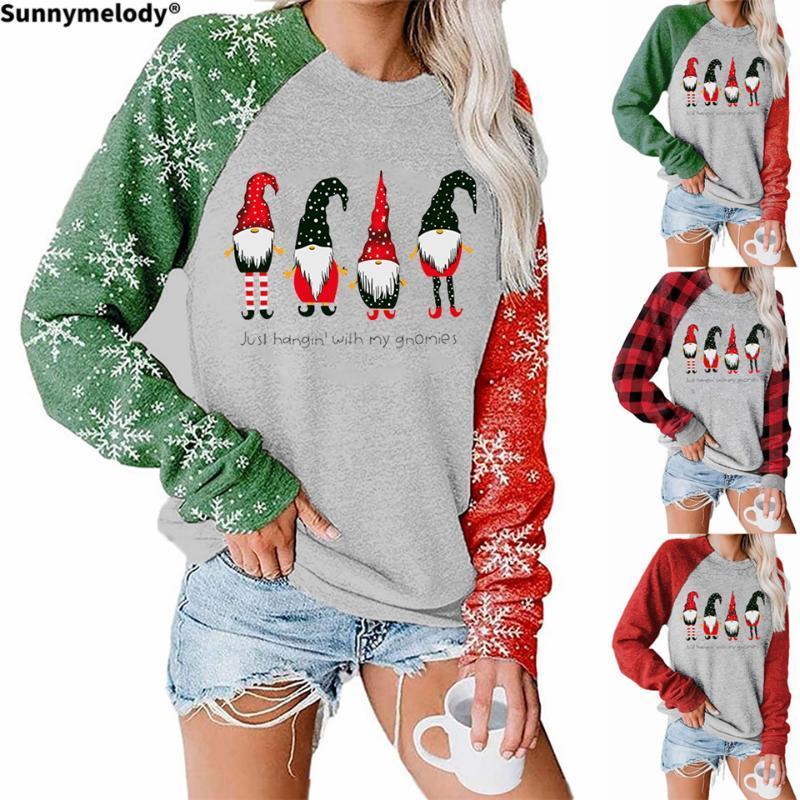 2020 Herbst Winter Weihnachtsmode Haus Kleid Hoodie Vier Santa Claus gemusterte gedruckt Rundhals Langarm Hoodie
