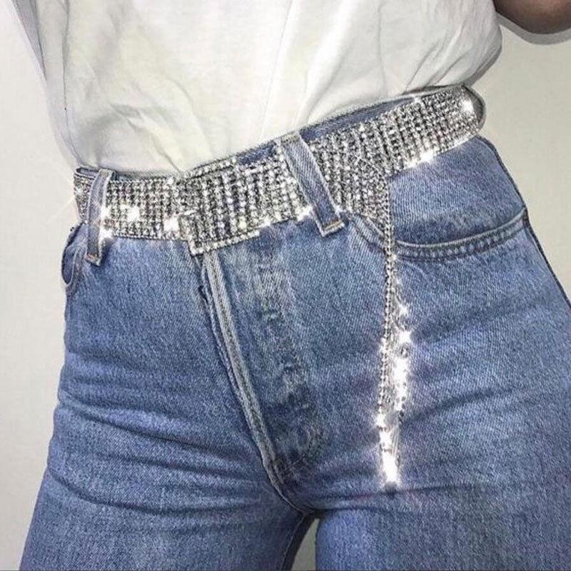 Newly Women Shining Rhinestone Waistband Glitter Wide Chain Belt Waist Belts DOD886