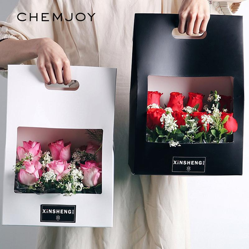 5pcs Kraft Paper Bags Flower Rose Box with Handle Waterproof Bouquet Florist Gift Packing Box Valentine's Day Party Decorations