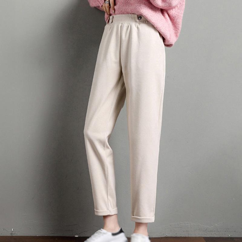 Retro Casual Cintura Alta Slim Straight Harem Calças Mulheres Outono Inverno Calças de Nove Point Plus Size Elastic Cintura Calças /