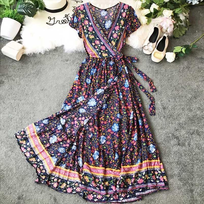 PINK FLORAL Wrap summer dress V neck belt tied new maxi dress short sleeve gypsy casual women 2020 vestidos