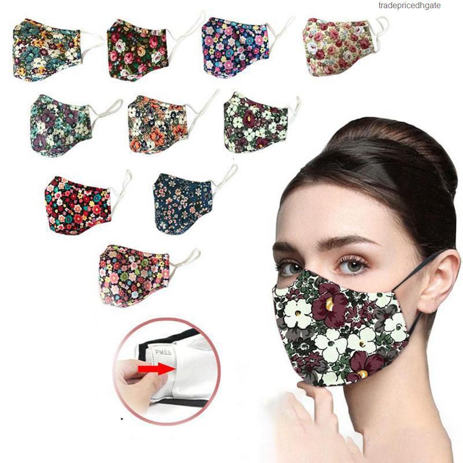 Floral Cotton Cotton Face Anti stampato Dust Lavabile PM2.5 Filtro inserito Maschera per la bocca a bocca aperta OOA8083 899k