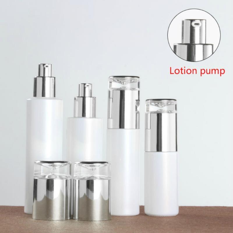 50 pcs 20-120ml pérola branca loção de vidro perfume frasco de óleo essencial garrafa de olho cosmético creme de olho pasta frasta embalagem recipiente
