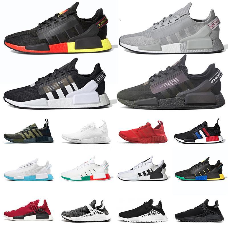 Оригинальный NMD R1 V2 Спортивные кроссовки Мужчины Женщины Pharrell Williams Human Race Размер человечества EUR 47 HU Trail Открытая Обувь Человеческие Расы Мужские Тренеры