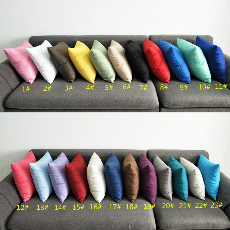 Color Solid Burlap Pillow Case Plain Covers Capa de Almofada SHAMS LINHA LINHA SQUARE Throw Almofada de almofadas de almofada para bancada Sofá ST129