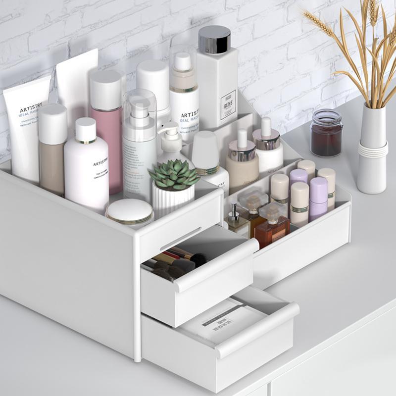 Maquillaje Organizador de cajones de gran capacidad Caja de almacenamiento cosmético Joyería Papelería Maquillaje Contenedor Desktop Sundries Box de almacenamiento Z1123