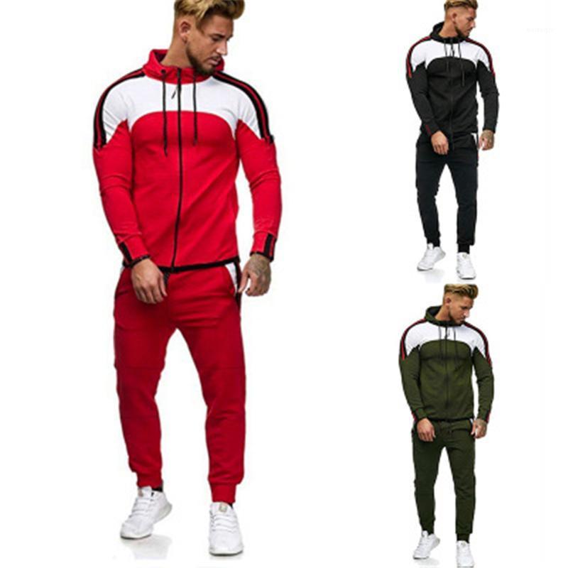 Spor Eşofman Erkek Ekleme Renkleri 2 adet Setleri Moda Trend Bahar Uzun Kollu Hırka Fermuar Kapüşonlu Sweatshirt Çizgili Harem Pantolon