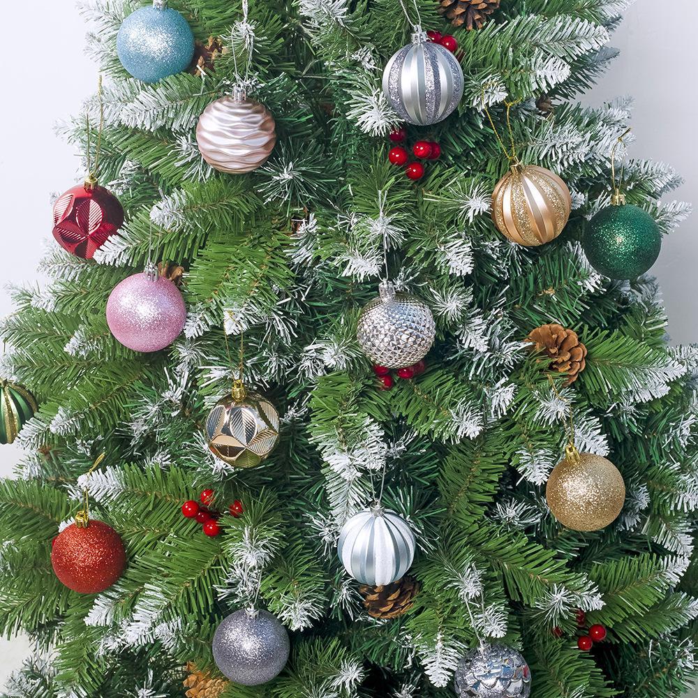 Noel Ağacı Sıcak Stil Sarkık Noel Süslemeleri Sarf Malzemeleri Süslenmiş Topları 6 cm * 12 Kutulu PVC Noel Ekran Topları