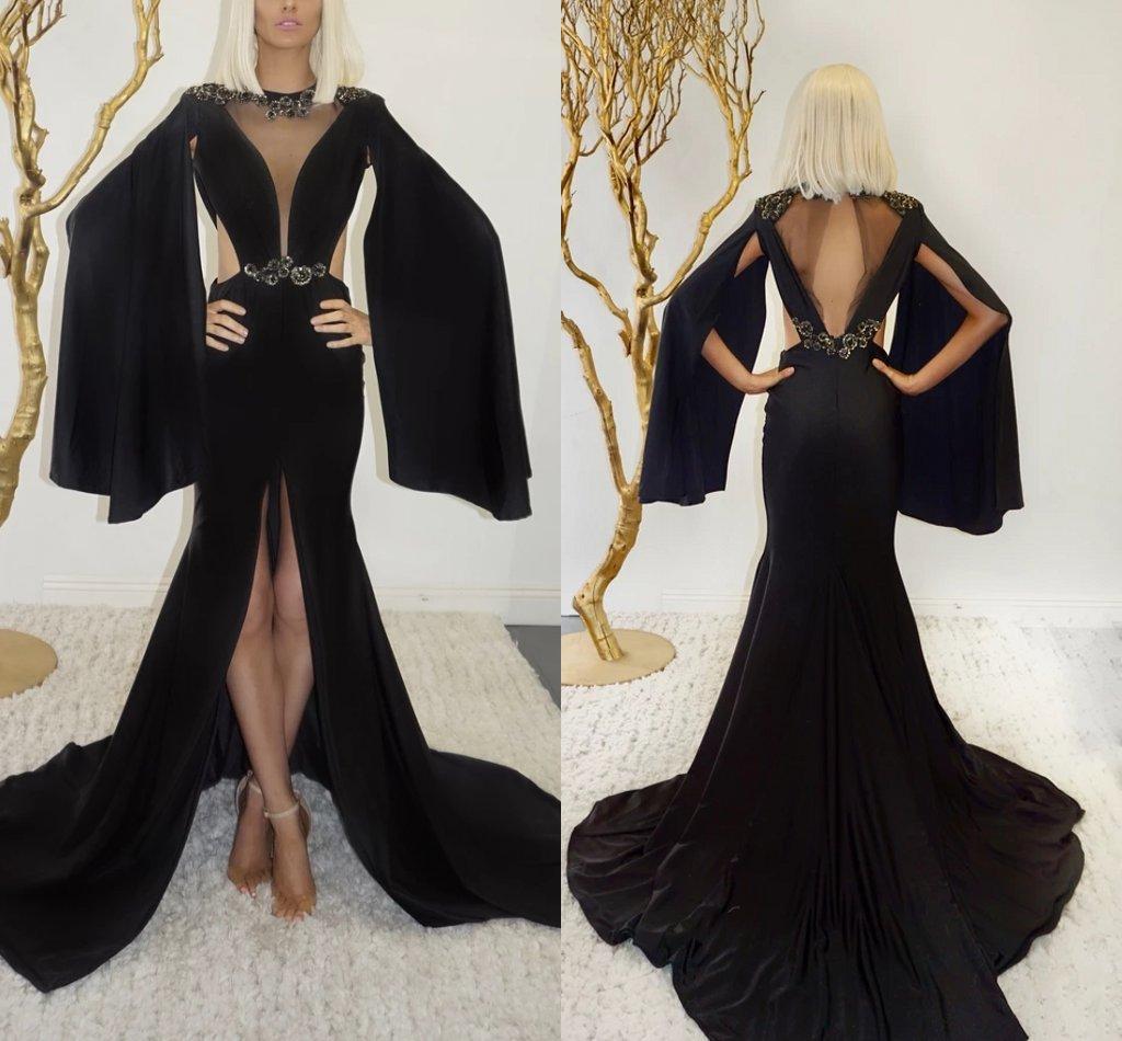 2021 Abito da sera della sirena nera con avvolgimento gioiello collo paillettes perline lombare abito da ballo lombare aperto schiena alto anteriore anteriore split ruffle formale party gown